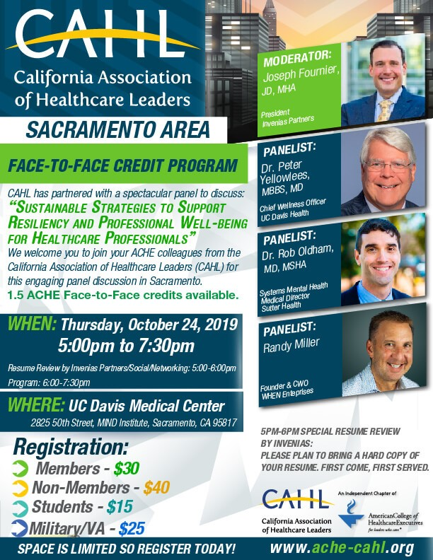 CAHL California Association of Healthcare Leaders event flyer